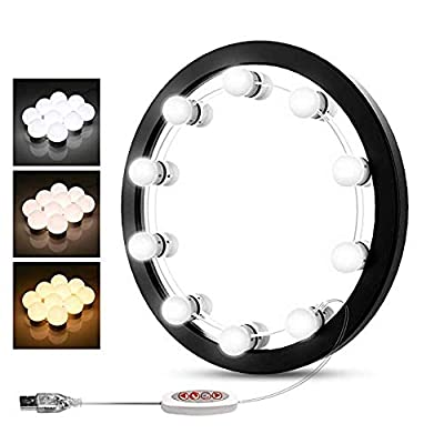 BEAUTME Hollywood Style LED Vanity Mirror Lights Kit with Dimmable Light Bulbs, Lighting Fixture Strip for Makeup Vanity Table Set in Dressing Room, Mirror Not Included