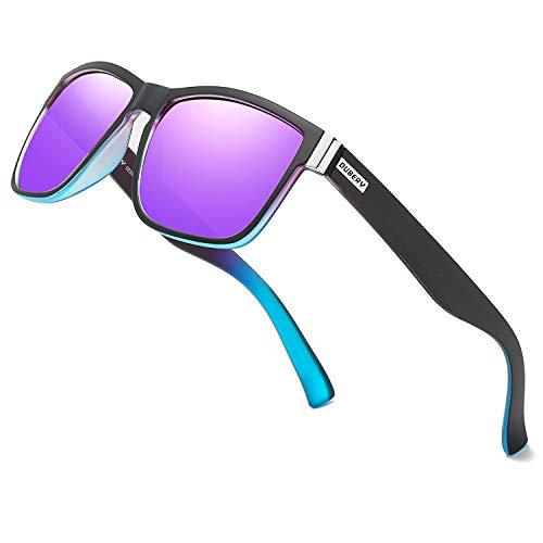 DUBERY Vintage Polarized Sunglasses for Men Women Retro Square Sun Glasses D518 (Purple&Blue/Purple)
