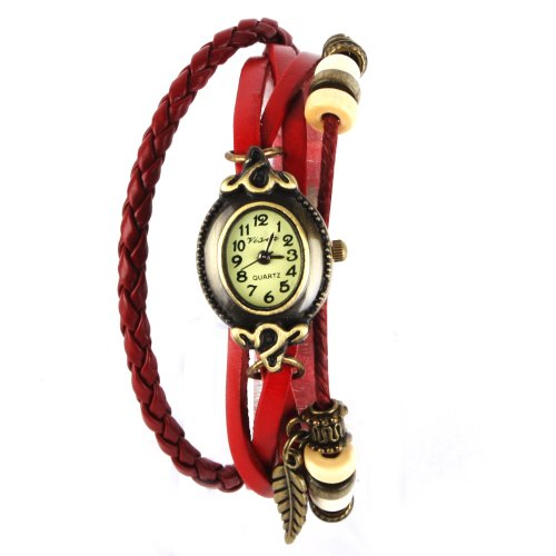 YESURPRISE Uhr Leder Armbanduhr Armreif Damenuhr Lady Quarz Bracelet Beads Watch Geschenk Gift montre de poche reloj de pulseraB2