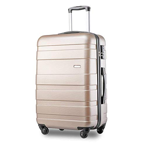 PovKeever ABS Hard Shell Carry On Cabin Hand Luggage Suitcase with 4 Wheels (S, Golden)
