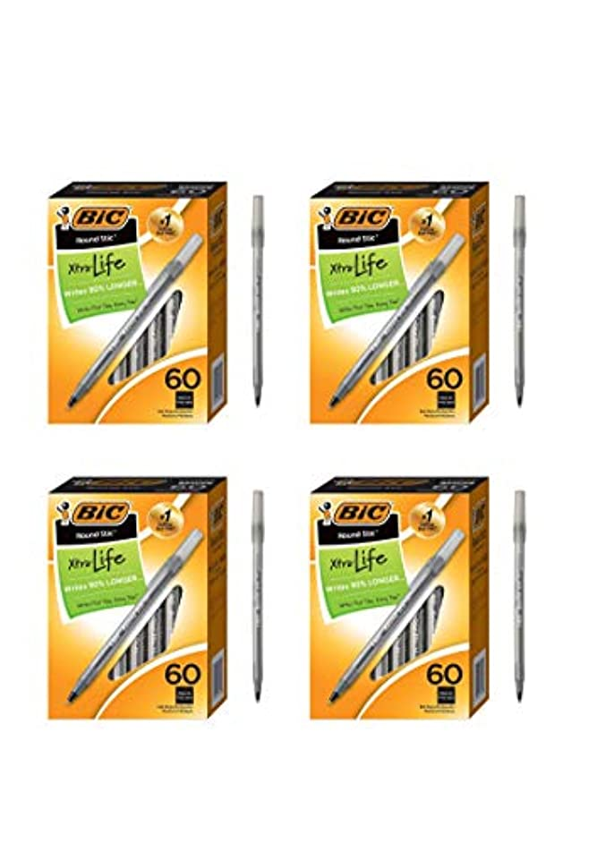 BIC Round Stic Xtra Life Ballpoint Pen, Medium Point (1.0mm), Black, 60-Count (4 Pack,Black, 60-Count)