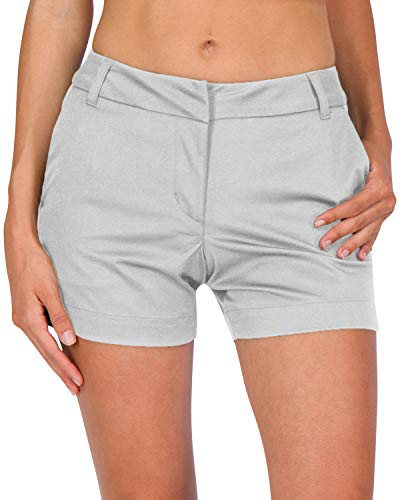 Three Sixty Six Womens Golf Shorts - Quick Dry Active Shorts with Pockets, Athletic and Breathable - 4 ½ Inch Inseam Silver Grey