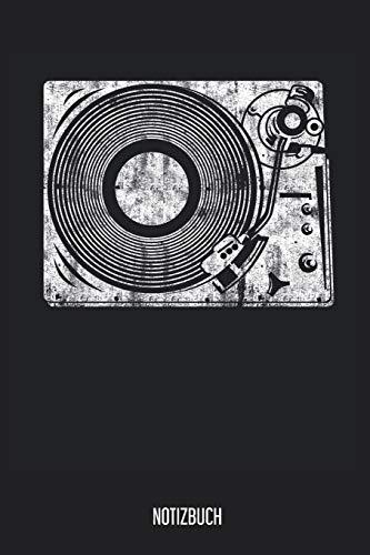 Notizbuch: Vinyl Plattenspieler Notizbuch, Musik Notebook, 120 Seiten blanko, 6x9, eckiger Buchrücken, Notizheft, Notenbuch, Gitarrenbuch, Schreibheft für Noitzen