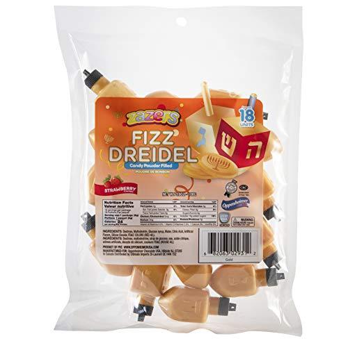 Hanukkah Dreidel Candy Powder Filled - Strawberry Flavor - Kosher Candy Gluten Free – Chanukkah Treats for Kids - Gold - zazers- 18 Count
