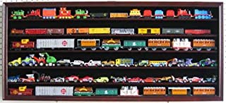 HO, N Scale Trains, 1:64 Scale Wheels, Toy Cars, Minifigures Display Case Rack Wall Cabinet Wall Shadow Box w/ UV Protection- Lockable HOT-HW05 (Mahogany Finish)