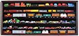 HO, N Scale Trains, 1:64 Scale Wheels, Toy Cars, Minifigures Display Case Rack Wall Cabinet Wall Shadow Box w/UV Protection- Lockable HOT-HW05 (Mahogany Finish)