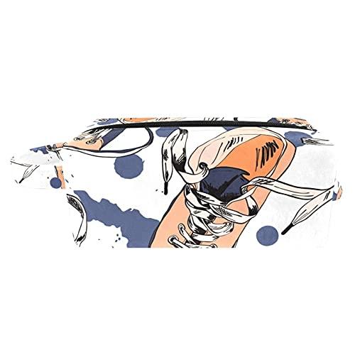 Bolso de Cosméticos de Viaje Zapatos Frescos Blancos Bolsa de Lavar Portátil Organizador de Cosméticos Impresión Billetera Pequeña para Mujeres Niñas Niños 21x8x9 cm