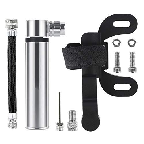 HILINE Mini bomba de bicicleta, 120 PSI para válvula Presta Schrader, bomba portátil de bolsillo para bicicleta de carretera, montaña y BMX, incluye kit de montaje (negro), 5QD05PZD2RNTNO308X719L3, plata