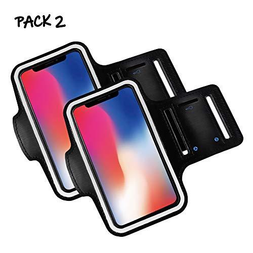Brazalete movil Running Pack 2 uds Compatible con Todos los telefonos moviles de hasta 6.8' Pantalla Funda movil para Correr Brazalete Deportivo movil Porta movil Running Negro