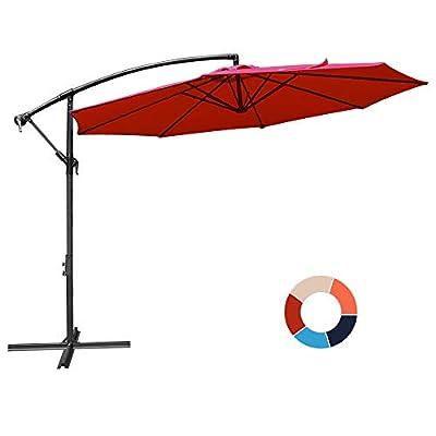 JIESSIWONG Offset Umbrella - 10Ft Cantilever Patio Hanging Umbrella?Outdoor Market Umbrellas with Crank Lift & Cross Base(10 FT,Red)