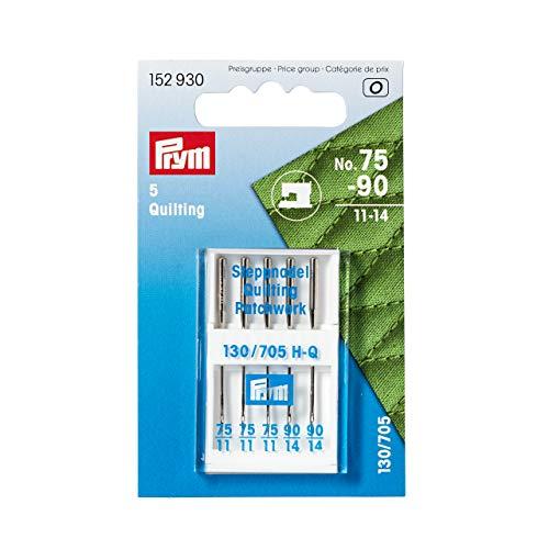 Prym 152930 Nähmaschinennadeln Quilting, 75 und 90, Metall, silberfarbig, No