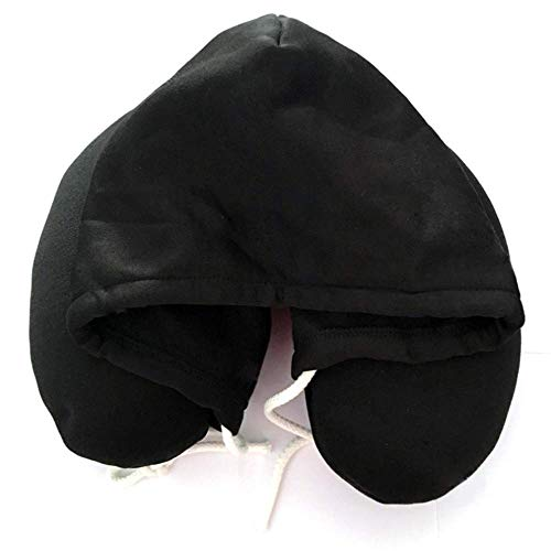 ZBB Polyester Hooded U-Shaped Pillow NAP Pillow Cervical Pillow Microparticle Travel Pillow Aircraft Hat U-Shaped Pillow,Black