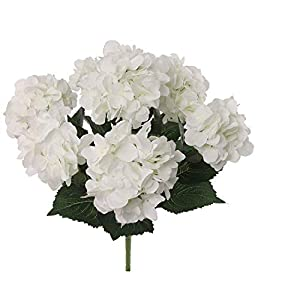 Larksilk Hydrangea Silk Flower Bush, Seven Heads Per Bush, UV Resistant, Indoor & Outdoor Silk Plant, Adjustable Stem, Rich Green Leaves, Wedding, Centerpiece, & Event Decor(White)