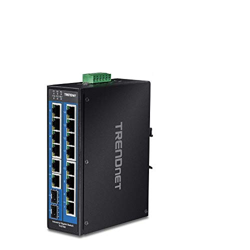 TRENDnet 16-Port Hardened Industrial Unmanaged Gigabit DIN-Rail Switch, TI-G162, 14 x Gigabit Ports, 2 x Gigabit SFP Slots,32Gbps Switching Capacity, IP30 Ethernet Network Switch, Lifetime Protection