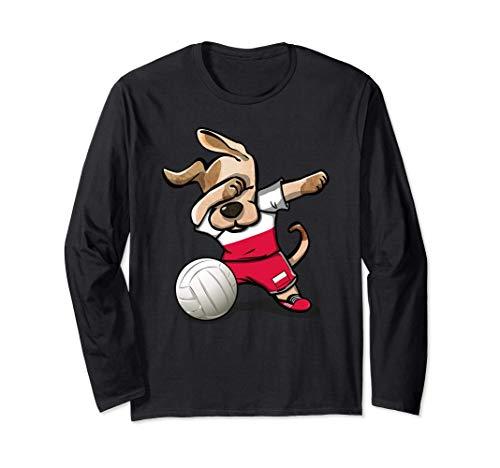 面白い犬のダンス ポーランド バレーボール ポーランドの旗- バレーボール愛好家 Poland Volleyball 長袖Tシャツ