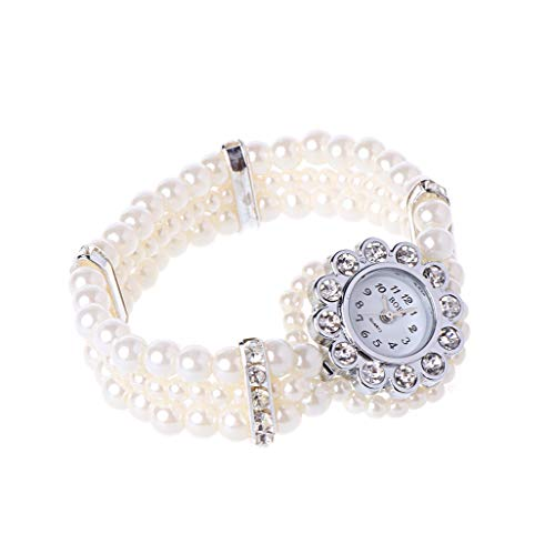 YU-HELLO _Reloj de pulsera para mujer, con perlas blancas, estilo de cuentas acentuadas