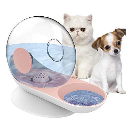 HappyCat - Dispensador de agua para mascotas pequeñas, perros, gatos, gravedad, alimentador de agua, fuente automática para perros pequeños o medianos, color rosa