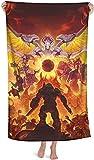 LWtiao-x Doom Eternal - Toalla de playa 3D para chicos, 100 x 200, toalla de baño, toalla deportiva, microfibra, juvenil, diseño de dibujos animados, tamaño grande (1,80 x 160 cm)