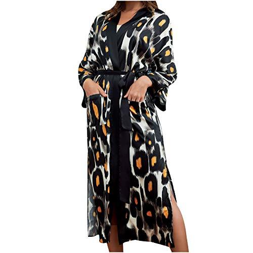 Meclelin Morgenmantel Damen Kimono Loungewear Lang Leopard Gedruckt Bademantel Robe Satin Elegant Nachtwäsche
