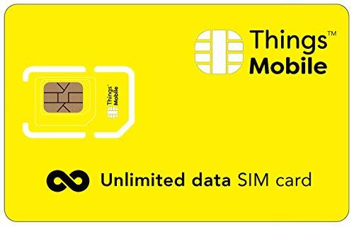SIM card UNLIMITED con piano ILLIMITATO per IoT e M2M - Things Mobile - con velocità a 32 Kbps, copertura globale, rete multi-operatore GSM 2G 3G 4G. 10 € di credito incluso