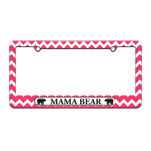 Graphics and More Mama Bear - License Plate Tag Frame - Pink Chevrons Design