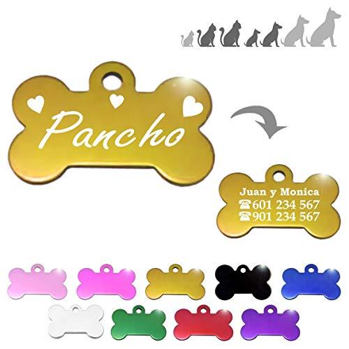 Hueso para Mascotas pequeñas-Medianas con Corazones Placa Chapa Medalla de identificación Personalizada para Collar Perro Gato Mascota grabada (Dorado)