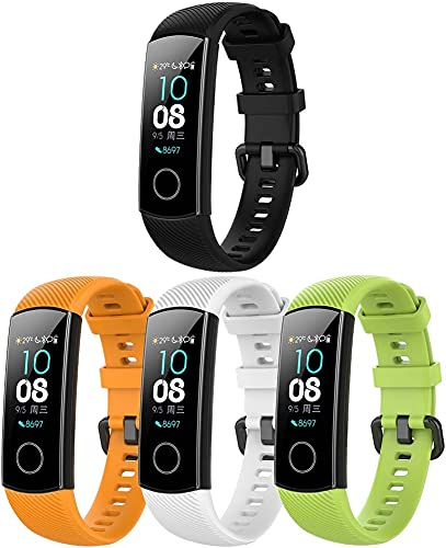 Chainfo Correa de Reloj Compatible con Huawei Band 4 / Honor Band 4, Blando Silicona Narrow Delgada Deporte Reemplazo Pulsera (4-Pack I)