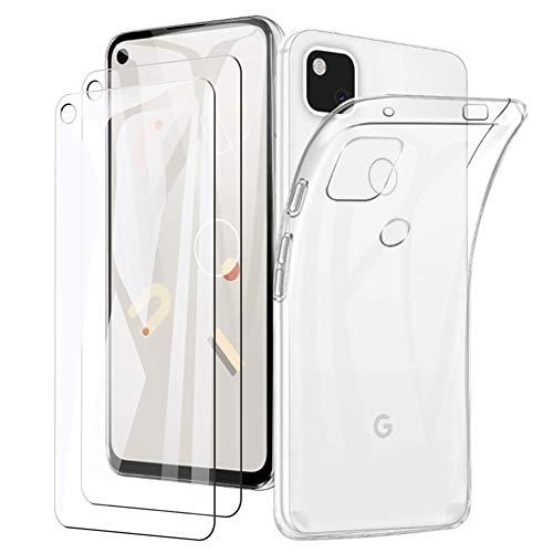Google pixel 4a ケース カバー TPU保護(1枚入)+贈り物ガラスフィルム(2枚入) ソフト シリコンケース 薄型 衝撃吸収 耐衝撃 柔らかい手触り