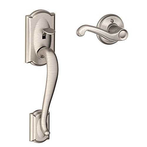 Schlage FE285 CAM 619 FLA RH Camelot Trim Lower Half Front Entry Handleset with Flair Right Hand Lever, Satin Nickel