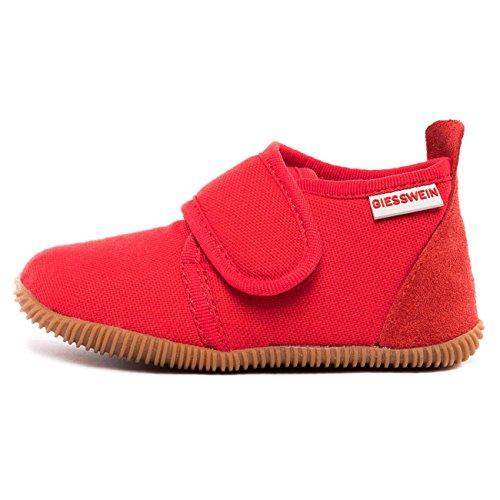 Giesswein Pantoufles Strass Slim Fit Rouge 24 - Chaussons pour garçons et Filles, Chaussures en Coton avec Velcro, Antidérapants, Idéal pour Les Jardins d'enfants
