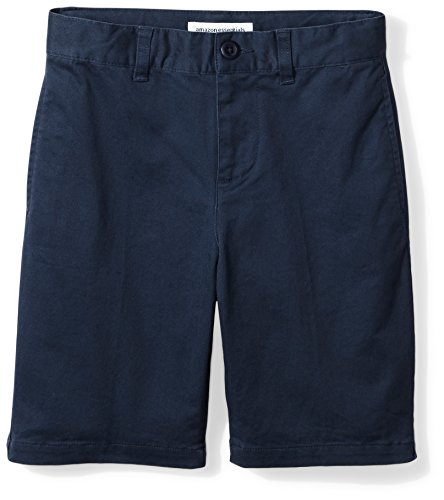 Amazon Essentials Kids Boys Woven Flat-Front Khaki Shorts, Navy Blue, 14 Husky