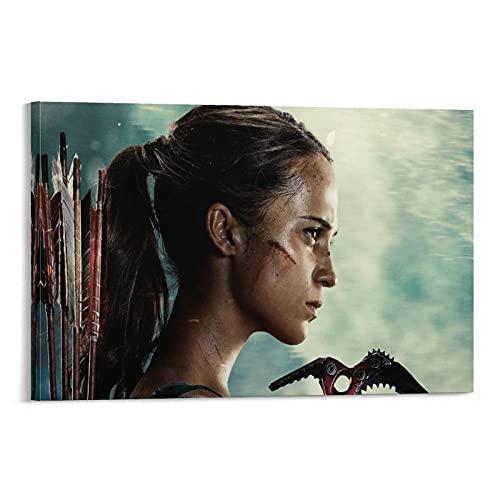 Póster decorativo de Lara Croft, Tomb Raider, Alicia Vikander, cuadro decorativo para pared, sala de estar, dormitorio, 50 x 75 cm