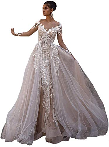 Meganbridal 2 Pieces Women's Long Sleeves Mermaid Lace Wedding Dresses for Bride with Detachable Train Bridal Ball Gown White