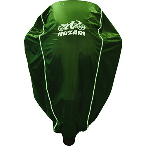 Premium Weather Resistant Covers Waterproof Polyester w/Soft Screen & Heat Resistant Shields.Motorcycle Cover has Lockable fabric, Durable & Long Lasting.Sportbikes & Cruisers (Large, Hunter Green)