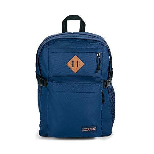JanSport Main Campus - Mochila para estudiantes, para escuela, viajes o trabajo, con funda para portátil de 15 pulgadas y bolsillos dobles para botellas de agua, color azul marino