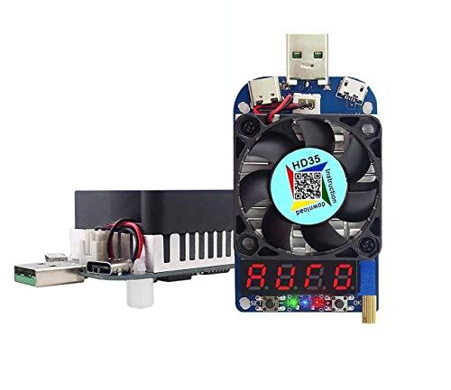 WINGONEER電子負荷テスターUSB負荷抵抗器モジュールトリガーQC2.0 QC3.0 35W 0.25-5A HD35 USBインターフェース放電ファン付き調整可能な定電流インテリジェント温度制御