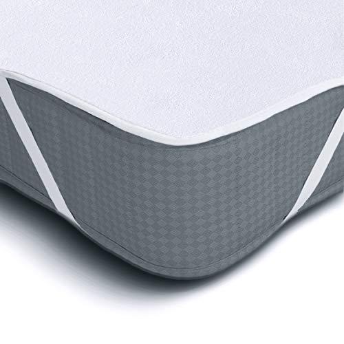 Melunda Protector de colchón Impermeable - 200 x 200 cm - Protector de colchón de algodón Anti-alérgico dermatológicamente Probado ✅
