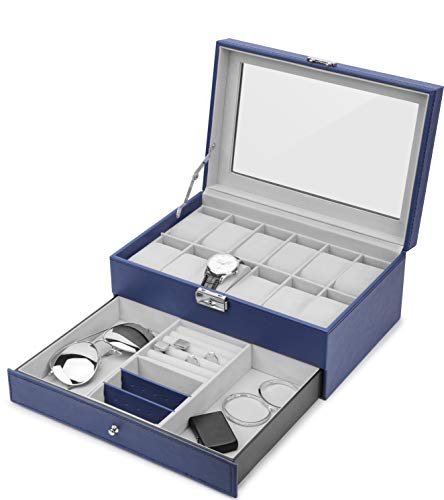 JS NOVA JUNS Watch Box 12 Mens Watch Organizer Jewelry Display Case with Lock and Keys, Royal Blue