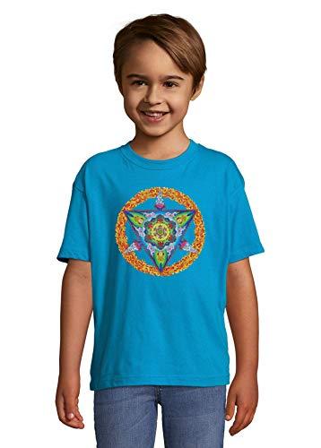 Luckyprint Flame Fire Peace Mandala Hippie Meditation Blue Kids Colorful T-Shirt 8 Year Old
