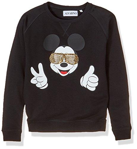 Alvarno Sweater Mickey Mouse Sunglasses Sudadera, Negro (Negro 0), Medium (Tamaño del Fabricante:M) para Mujer