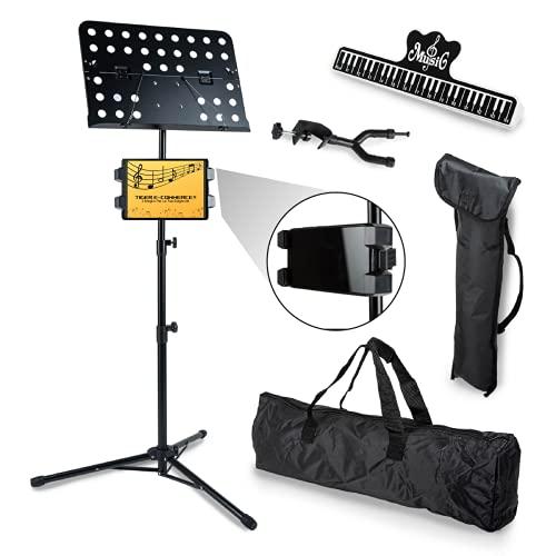Leggio Musicale Pieghevole Con Supporto Tablet Smartphone | Tiger E-Commerce | Per Cantanti Orchestra Musica Spartiti, Con Accessori, Clip, Supporto Chitarra Violino, Borse.