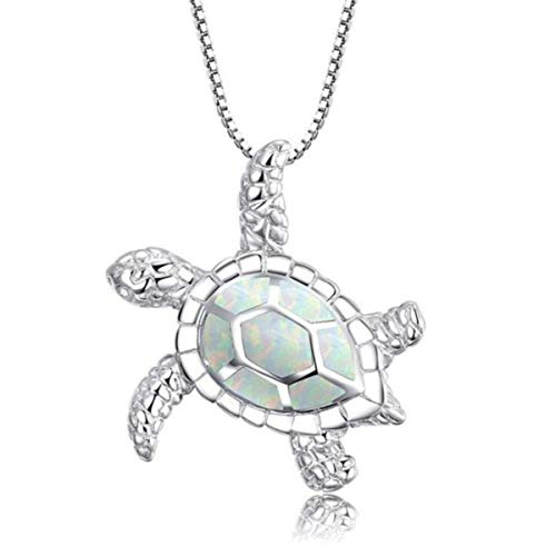 Beiswe Opal Turtle Pendant for Women Girls Adjustable Chain Sea Turtle Animal Necklace Jewellery Gifts (White)