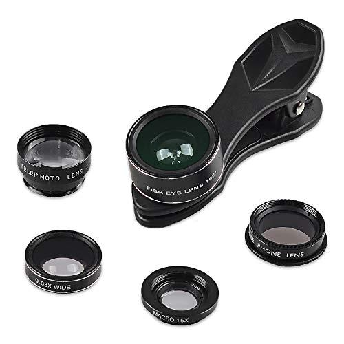 5in1 Handy Smartphone Tablet Kamera Objektiv-Adapter-Set mit Fisheye (198°) Weitwinkel (0,63 x) Makroobjektiv (15x) Teleskop-Linse (2X) CPL-Filter-Linse (Schwarz)