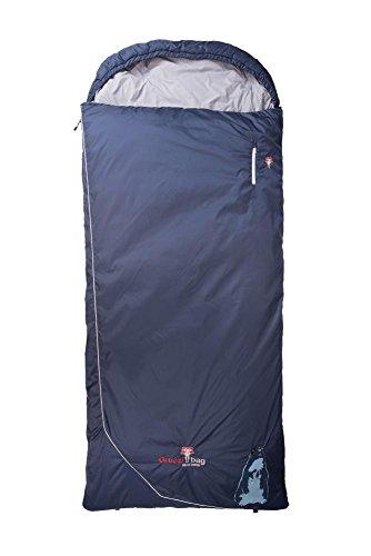 Grüezi-Bag Biopod Wolle Murmeltier Comfort XXL Links Schlafsack, 225x 95 cm, Almwolle Füllung, 1775g, Packmaß Ø 21 x 35 cm, Camping/Hütte/Zelten, blau