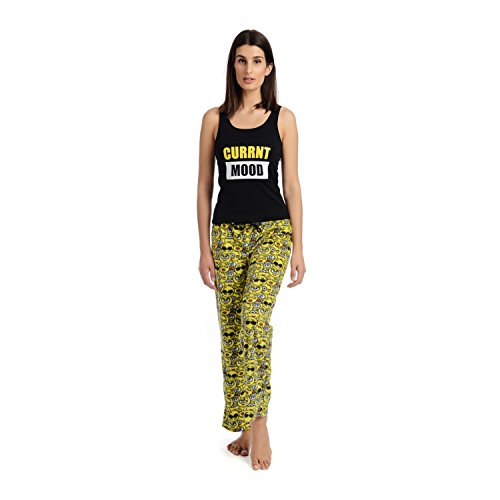 Body Candy Junior's Knit Pajama Tank Top with Luxe Fleece Sleep Pants, Black/Yellow, Large