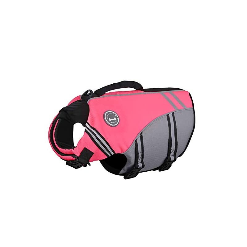 dog supplies online vivaglory new sports style ripstop dog life jacket with superior buoyancy & rescue handle, bright pink, m