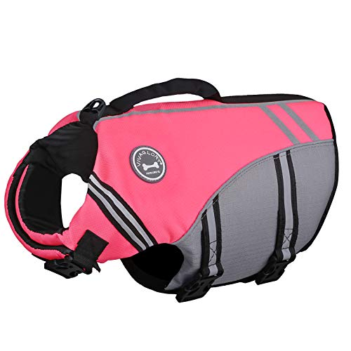 Vivaglory New Sports Style Ripstop Dog Life Jacket with Superior Buoyancy & Rescue Handle, Bright Pink, M