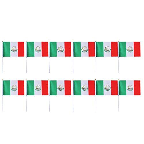 12pcs Banderas de Mano Que Agitan Hechas de Poliéster Méjico
