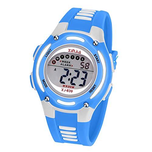 Reloj Digital para Niña Niño,Chicos Chicas Impermeabl Deportes al Aire Libre LED Multifuncionales Relojes de Pulsera con Alarma (Azul)