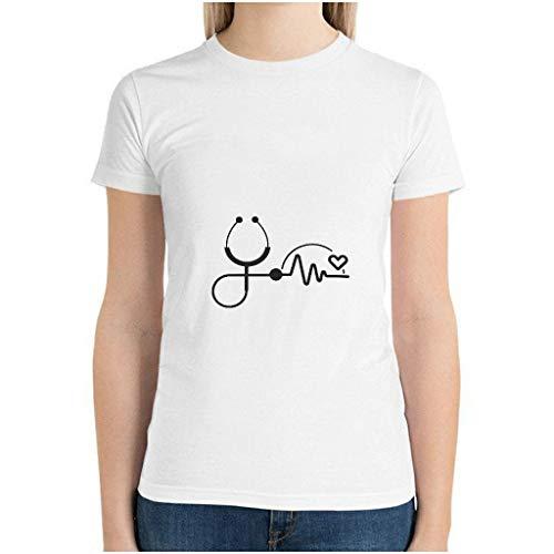 Frauen Baumwoll-T-Shirt Stethoskop und Herzschlag ultraweich Rundhalsausschnitt -Herzschlag Unterhemden für Radfahren White 2XL